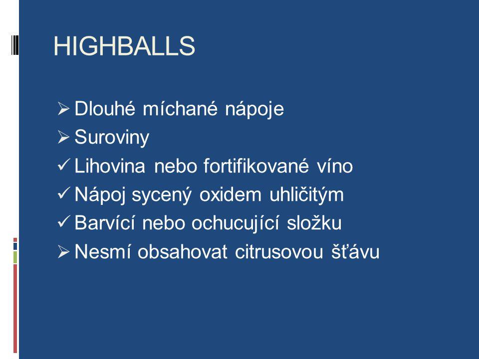 HIGHBALLS  Dlouhé míchané nápoje  Suroviny Lihovina nebo fortifikované víno Nápoj sycený oxidem uhličitým Barvící nebo ochucující složku  Nesmí obsahovat citrusovou šťávu