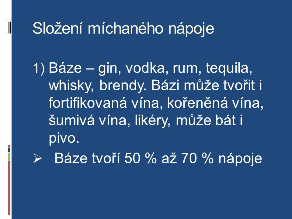 Složení míchaného nápoje 1) Báze – gin, vodka, rum, tequila, whisky, brendy.