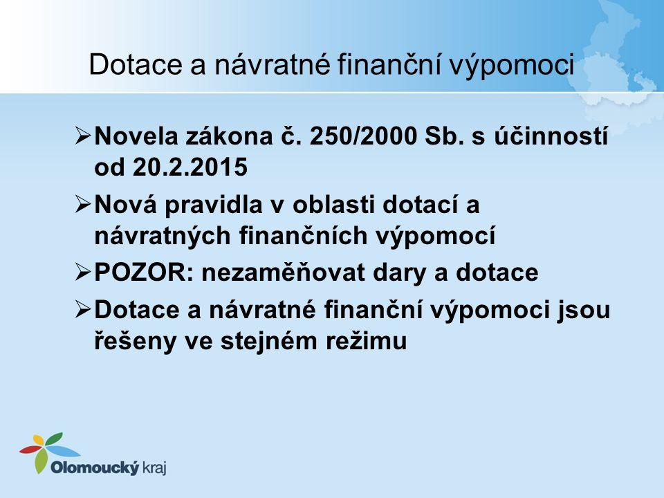 Dotace a návratné finanční výpomoci  Novela zákona č. 250/2000 Sb. s účinností od 20.2.2015  Nová pravidla v oblasti dotací a návratných finančních
