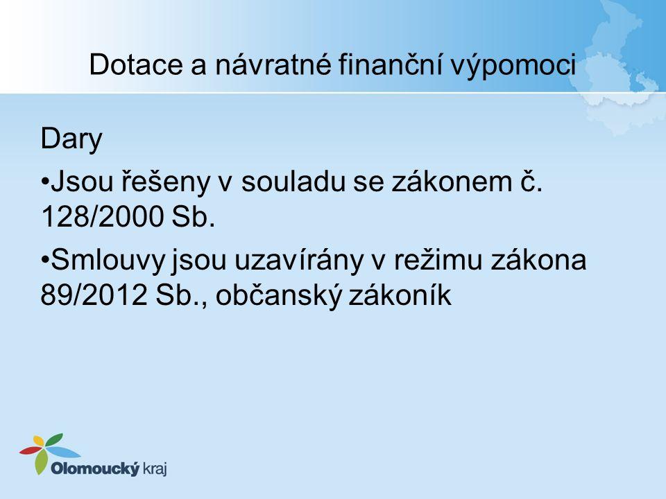Dotace a návratné finanční výpomoci Dary Jsou řešeny v souladu se zákonem č.