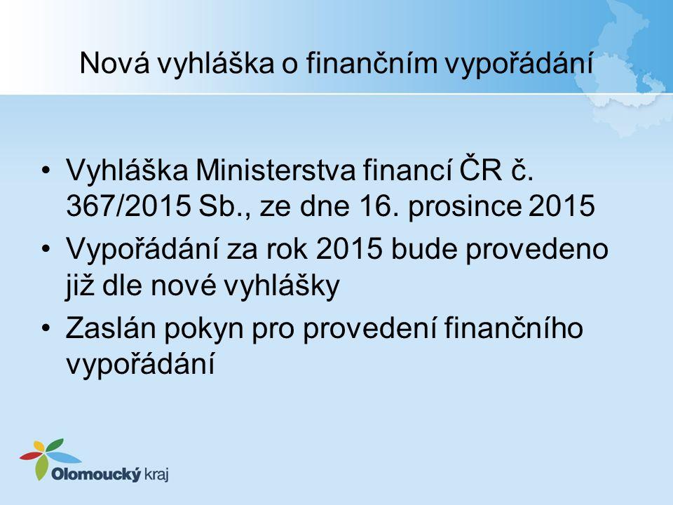 Nová vyhláška o finančním vypořádání Vyhláška Ministerstva financí ČR č. 367/2015 Sb., ze dne 16. prosince 2015 Vypořádání za rok 2015 bude provedeno
