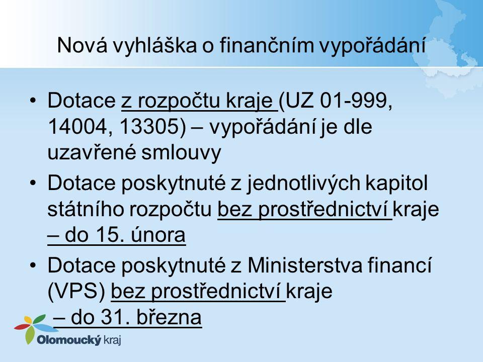 Nová vyhláška o finančním vypořádání Dotace z rozpočtu kraje (UZ 01-999, 14004, 13305) – vypořádání je dle uzavřené smlouvy Dotace poskytnuté z jednotlivých kapitol státního rozpočtu bez prostřednictví kraje – do 15.
