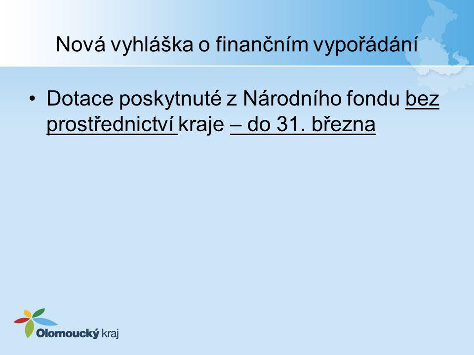 Nová vyhláška o finančním vypořádání Dotace poskytnuté z Národního fondu bez prostřednictví kraje – do 31.