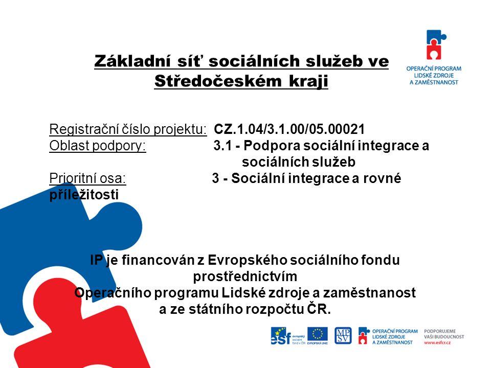 Základní síť sociálních služeb ve Středočeském kraji Registrační číslo projektu: CZ.1.04/3.1.00/05.00021 Oblast podpory: 3.1 - Podpora sociální integr