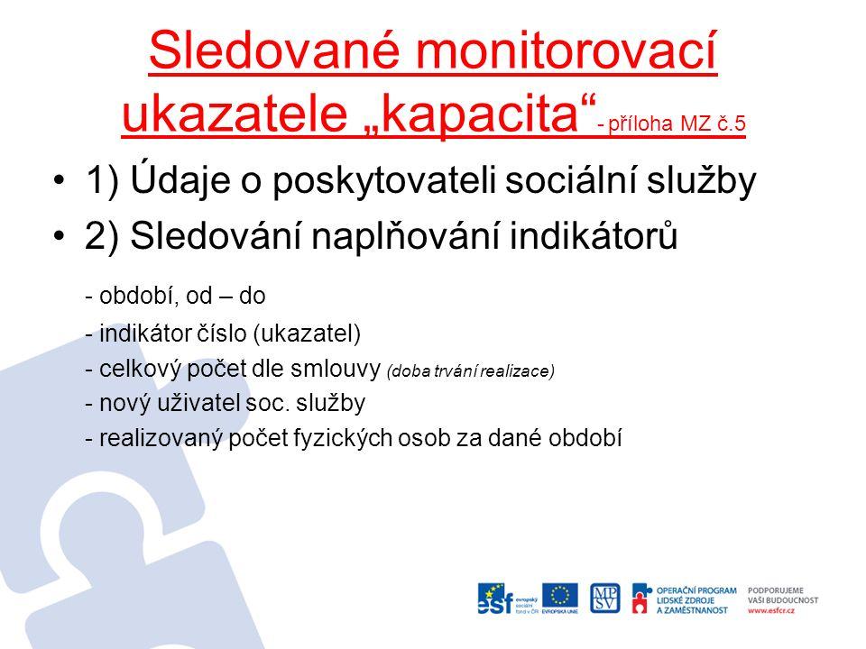 """Sledované monitorovací ukazatele """"kapacita"""" - příloha MZ č.5 1) Údaje o poskytovateli sociální služby 2) Sledování naplňování indikátorů - období, od"""