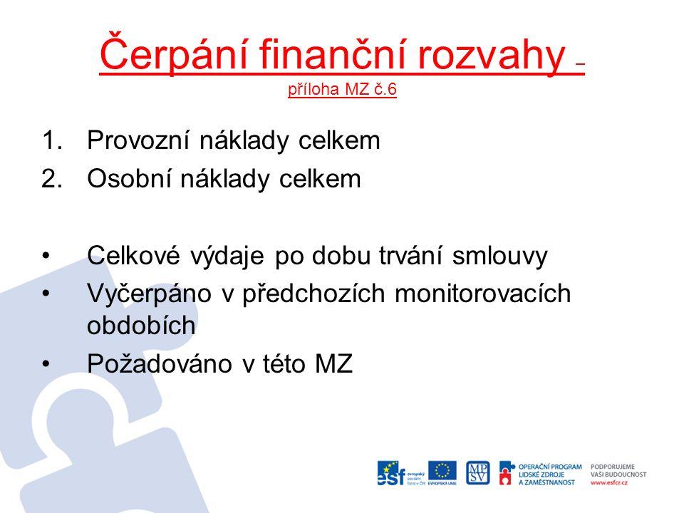 Čerpání finanční rozvahy – příloha MZ č.6 1.Provozní náklady celkem 2.Osobní náklady celkem Celkové výdaje po dobu trvání smlouvy Vyčerpáno v předchoz