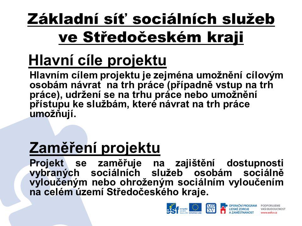Základní síť sociálních služeb ve Středočeském kraji Hlavní cíle projektu Hlavním cílem projektu je zejména umožnění cílovým osobám návrat na trh prác