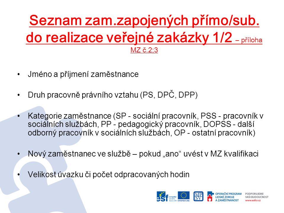 Seznam zam.zapojených přímo/sub. do realizace veřejné zakázky 1/2 – příloha MZ č.2;3 Jméno a příjmení zaměstnance Druh pracovně právního vztahu (PS, D