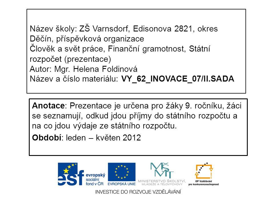 Název školy: ZŠ Varnsdorf, Edisonova 2821, okres Děčín, příspěvková organizace Člověk a svět práce, Finanční gramotnost, Státní rozpočet (prezentace) Autor: Mgr.