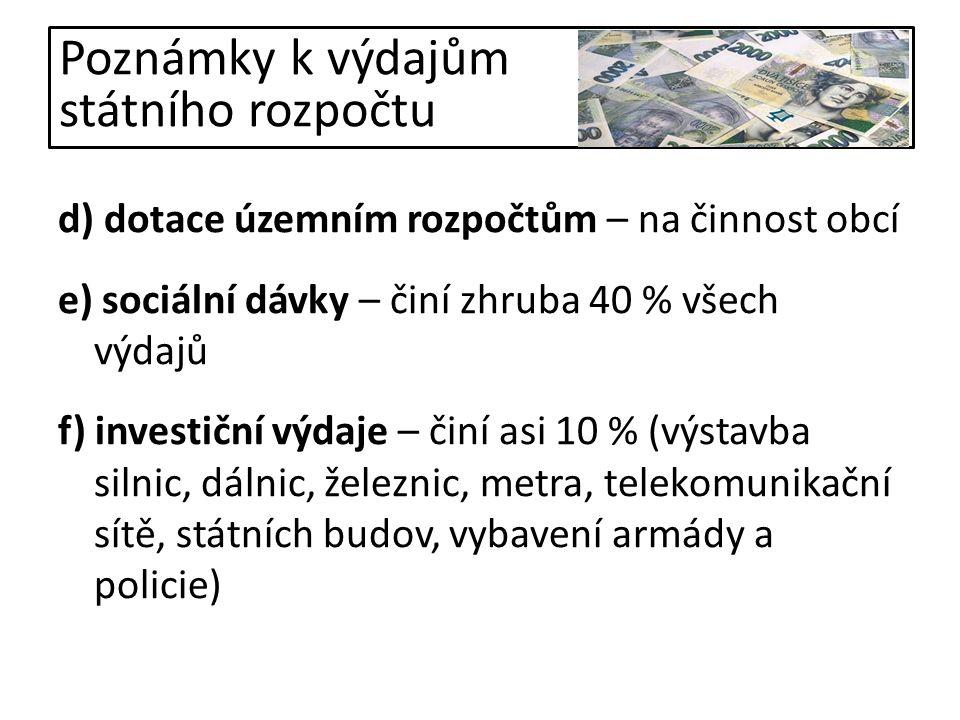 Otázky k opakování Co je to státní rozpočet.Popiš hlavní příjmy státního rozpočtu ČR.