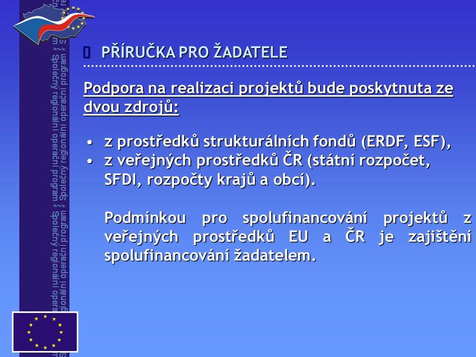 PŘÍRUČKA PRO ŽADATELE  z prostředků strukturálních fondů (ERDF, ESF),z prostředků strukturálních fondů (ERDF, ESF), z veřejných prostředků ČR (státní rozpočet, SFDI, rozpočty krajů a obcí).z veřejných prostředků ČR (státní rozpočet, SFDI, rozpočty krajů a obcí).