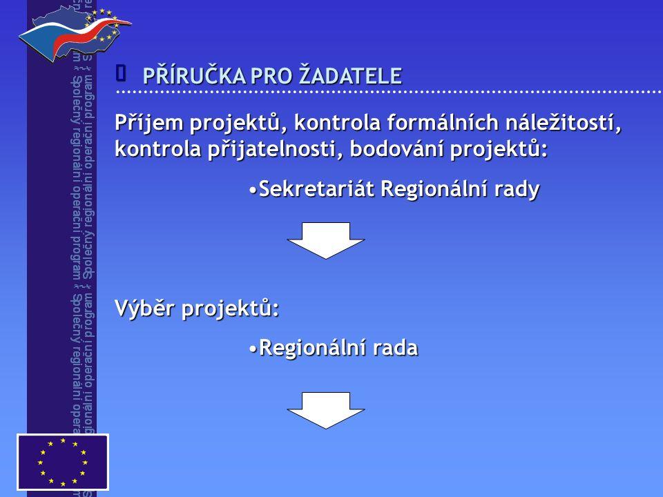 Příjem projektů, kontrola formálních náležitostí, kontrola přijatelnosti, bodování projektů: Sekretariát Regionální radySekretariát Regionální rady Výběr projektů: Regionální radaRegionální rada  PŘÍRUČKA PRO ŽADATELE