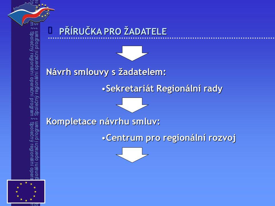 Návrh smlouvy s žadatelem: Sekretariát Regionální radySekretariát Regionální rady Kompletace návrhu smluv: Centrum pro regionální rozvojCentrum pro regionální rozvoj  PŘÍRUČKA PRO ŽADATELE
