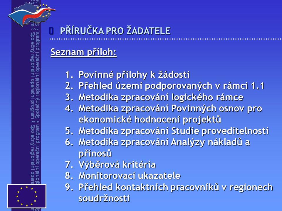  Seznam příloh: 1.Povinné přílohy k žádosti 2.Přehled území podporovaných v rámci 1.1 3.Metodika zpracování logického rámce 4.Metodika zpracování Povinných osnov pro ekonomické hodnocení projektů 5.Metodika zpracování Studie proveditelnosti 6.Metodika zpracování Analýzy nákladů a přínosů 7.Výběrová kritéria 8.Monitorovací ukazatele 9.Přehled kontaktních pracovníků v regionech soudržnosti