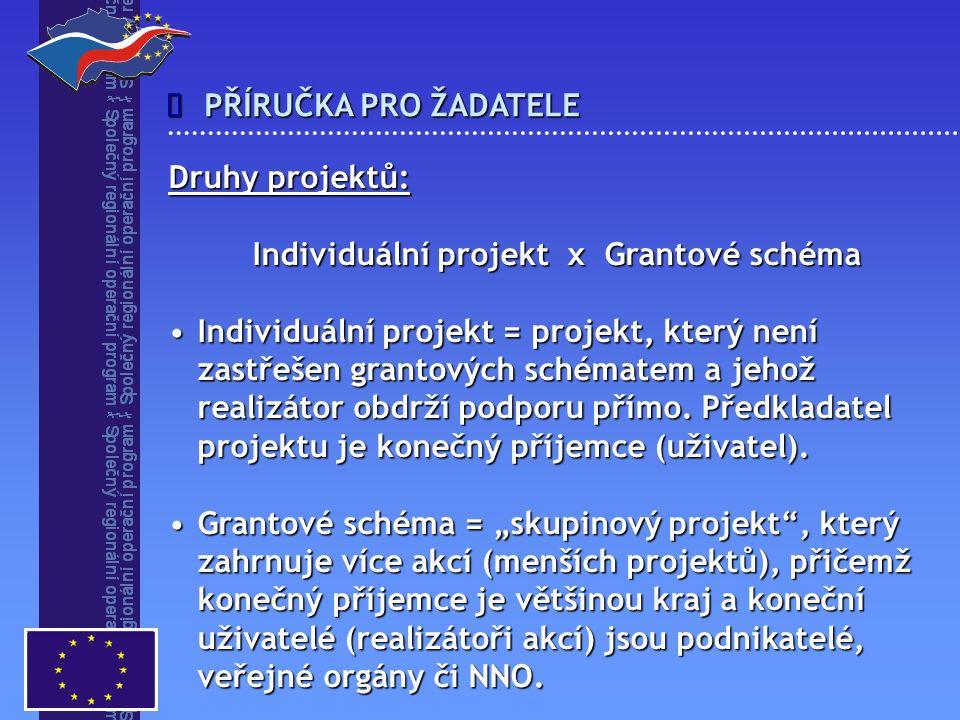 PŘÍRUČKA PRO ŽADATELE  Druhy projektů: Individuální projekt x Grantové schéma Individuální projekt = projekt, který není zastřešen grantových schématem a jehož realizátor obdrží podporu přímo.