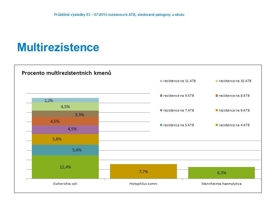 Průběžné výsledky 03 – 07/2015 rezistence k ATB, sledované patogeny u skotu Multirezistence