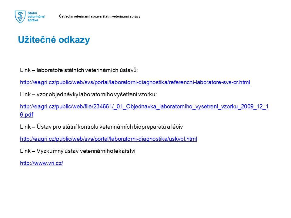 Užitečné odkazy Link – laboratoře státních veterinárních ústavů: http://eagri.cz/public/web/svs/portal/laboratorni-diagnostika/referencni-laboratore-s
