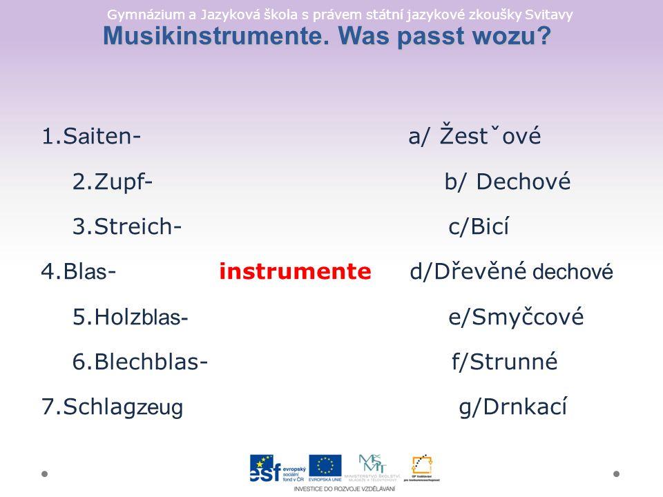 Gymnázium a Jazyková škola s právem státní jazykové zkoušky Svitavy Musikinstrumente.