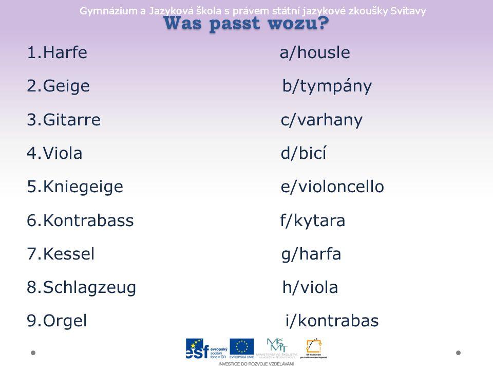 Gymnázium a Jazyková škola s právem státní jazykové zkoušky Svitavy Was passt wozu.