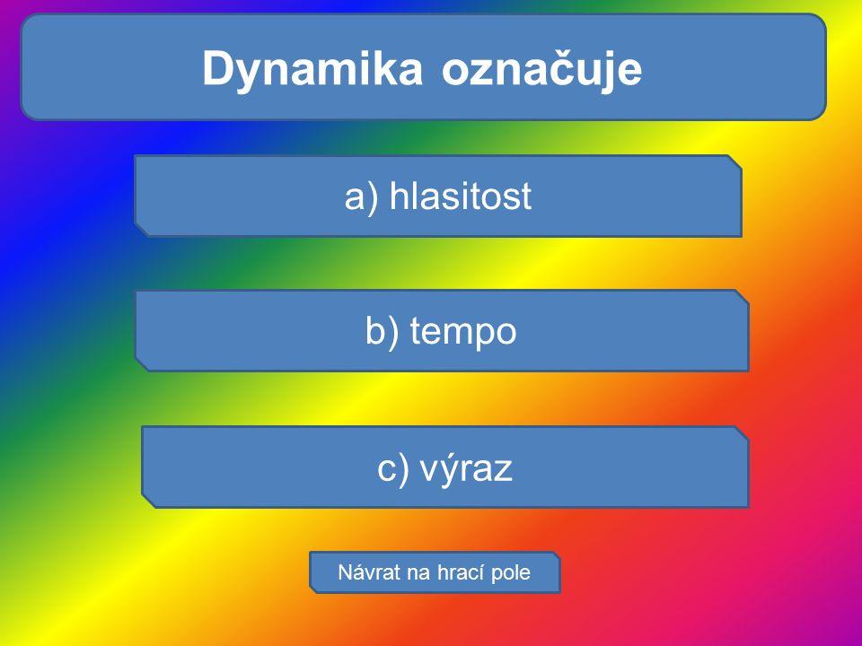 Pocením se tělo je: a) hlasitost b) tempo c) výraz Návrat na hrací pole Dynamika označuje