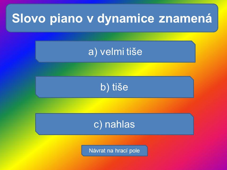 Pocením se tělo: a) velmi tiše b) tiše c) nahlas Návrat na hrací pole Slovo piano v dynamice znamená