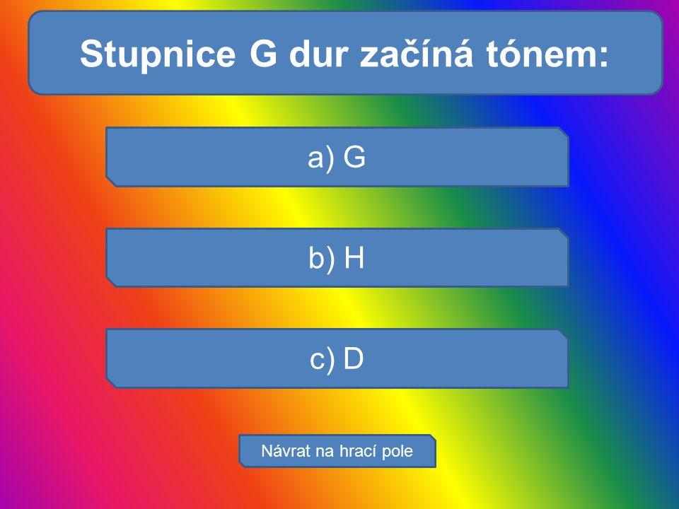 Svaly se upínají : a) G b) H c) D Návrat na hrací pole Stupnice G dur začíná tónem: