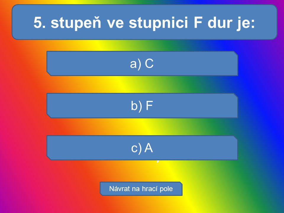 Svaly a) C b) F c) A Návrat na hrací pole 5. stupeň ve stupnici F dur je: