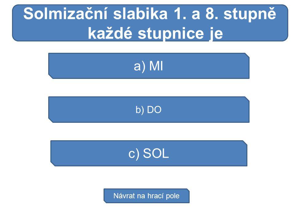 Moč vzniká a) MI b) DO c) SOL Návrat na hrací pole Solmizační slabika 1. a 8. stupně každé stupnice je