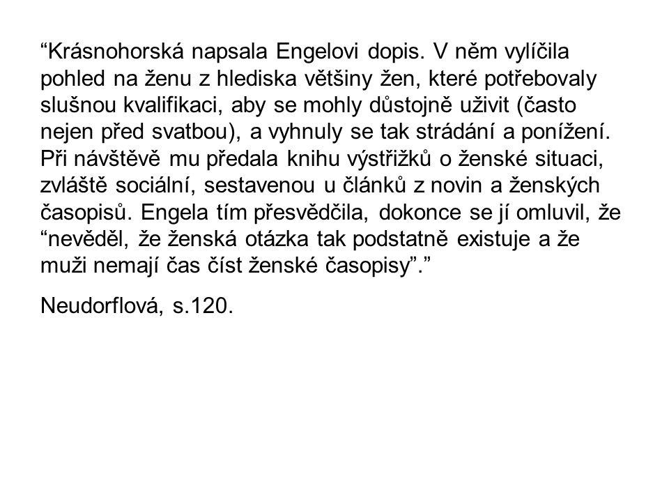 Krásnohorská napsala Engelovi dopis.