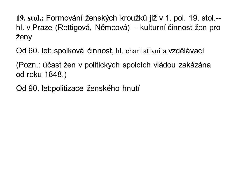 19. stol.: Formování ženských kroužků již v 1. pol.