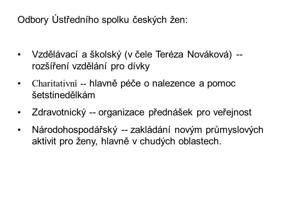 Odbory Ústředního spolku českých žen: Vzdělávací a školský (v čele Teréza Nováková) -- rozšíření vzdělání pro dívky Charitativní -- hlavně péče o nalezence a pomoc šetstinedělkám Zdravotnický -- organizace přednášek pro veřejnost Národohospodářský -- zakládání novým průmyslových aktivit pro ženy, hlavně v chudých oblastech.