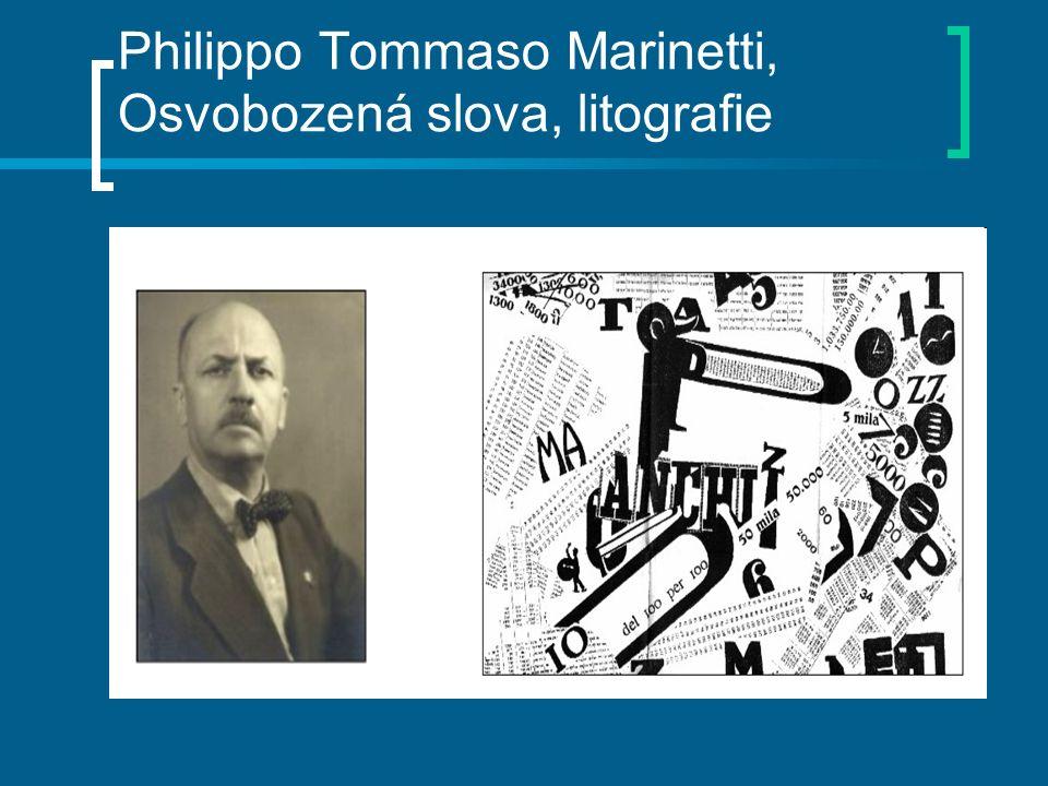 Philippo Tommaso Marinetti, Osvobozená slova, litografie