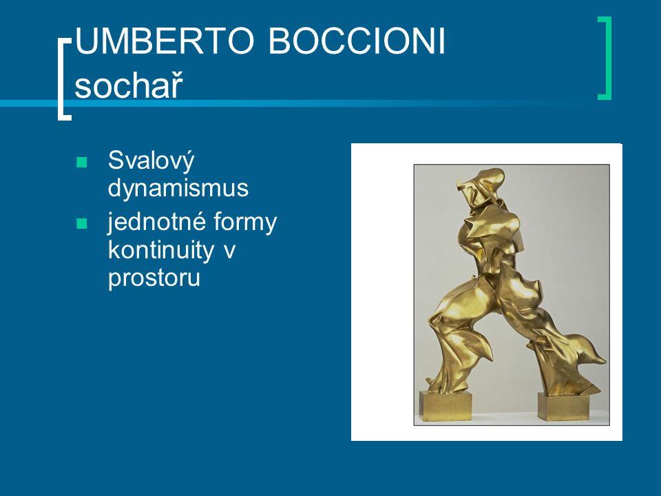 UMBERTO BOCCIONI sochař Svalový dynamismus jednotné formy kontinuity v prostoru