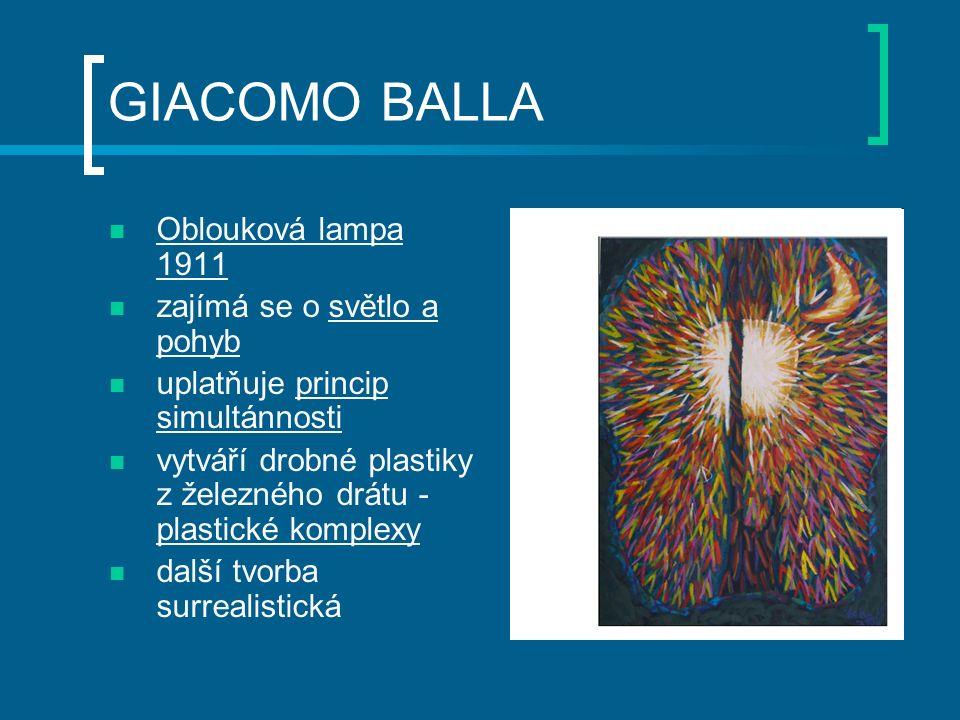 GIACOMO BALLA Oblouková lampa 1911 zajímá se o světlo a pohyb uplatňuje princip simultánnosti vytváří drobné plastiky z železného drátu - plastické komplexy další tvorba surrealistická