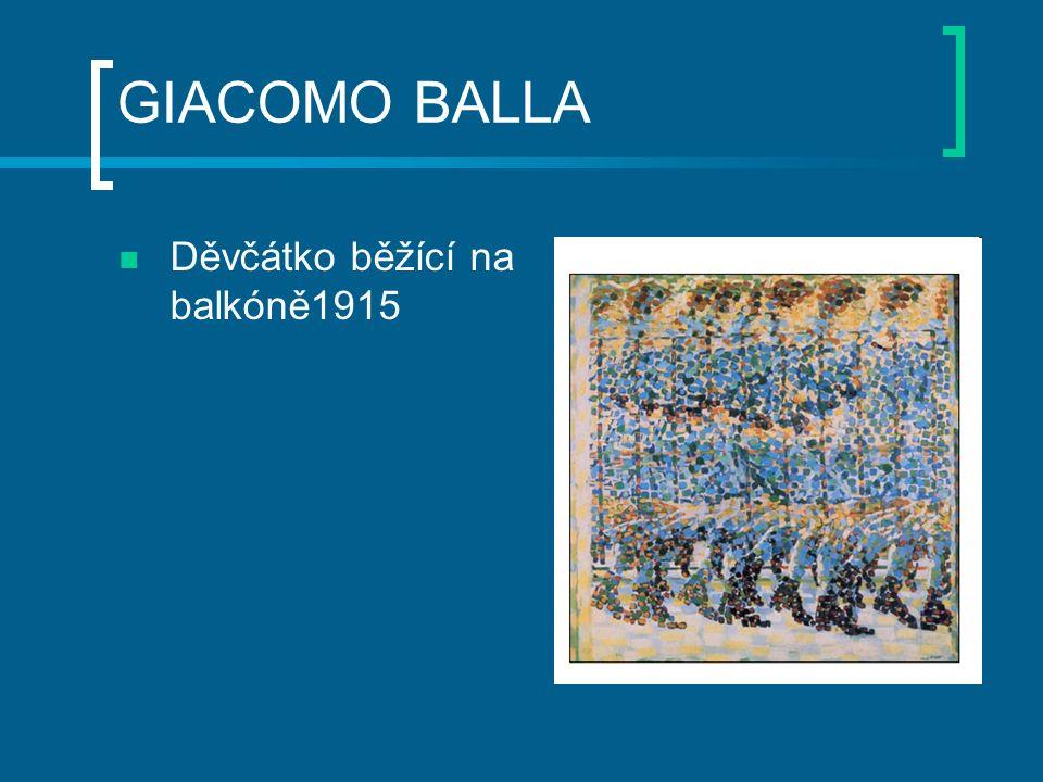 UMBERTO BOCCIONI GIACOMO BALLA Děvčátko běžící na balkóně1915