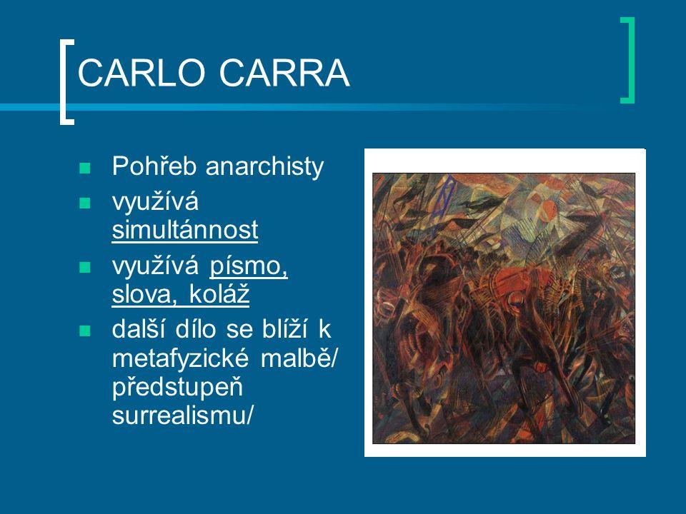 CARLO CARRA Pohřeb anarchisty využívá simultánnost využívá písmo, slova, koláž další dílo se blíží k metafyzické malbě/ předstupeň surrealismu/