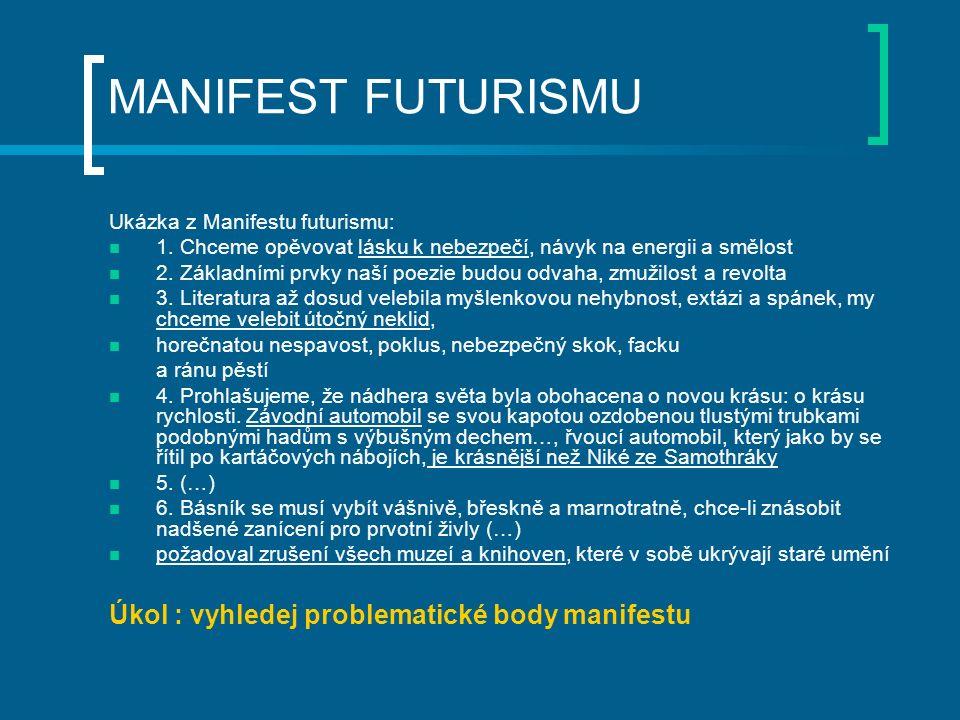 MANIFEST FUTURISMU Ukázka z Manifestu futurismu: 1. Chceme opěvovat lásku k nebezpečí, návyk na energii a smělost 2. Základními prvky naší poezie budo