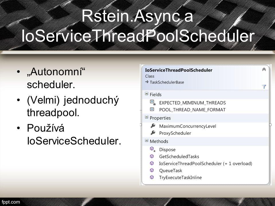 "Rstein.Async a IoServiceThreadPoolScheduler ""Autonomní"" scheduler. (Velmi) jednoduchý threadpool. Používá IoServiceScheduler."