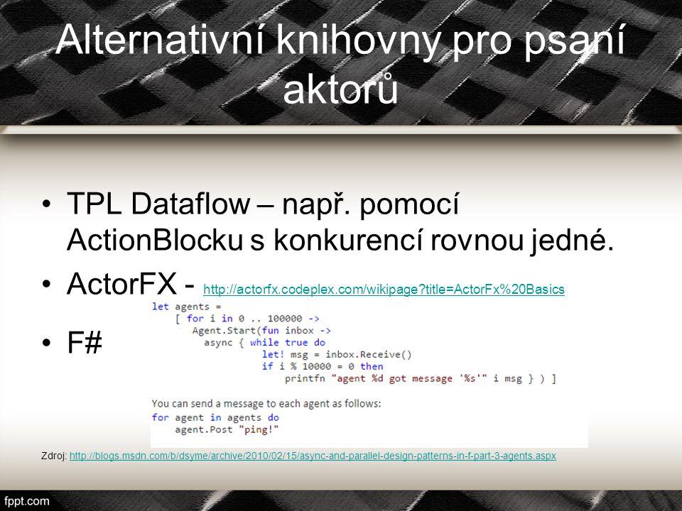Alternativní knihovny pro psaní aktorů TPL Dataflow – např. pomocí ActionBlocku s konkurencí rovnou jedné. ActorFX - http://actorfx.codeplex.com/wikip