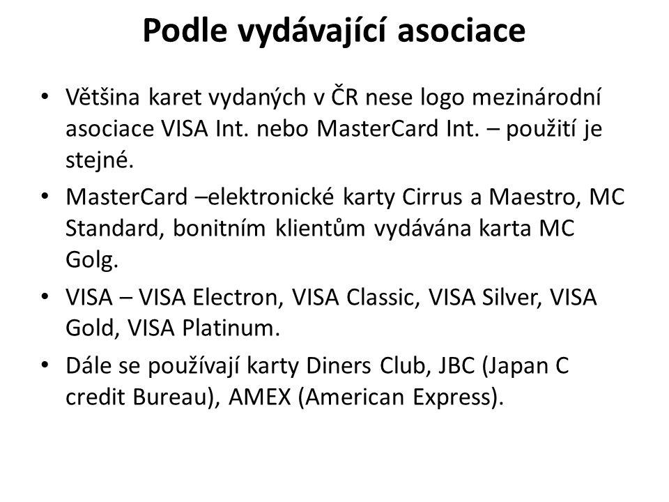 Podle vydávající asociace Většina karet vydaných v ČR nese logo mezinárodní asociace VISA Int.