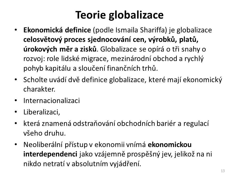 Teorie globalizace Ekonomická definice (podle Ismaila Shariffa) je globalizace celosvětový proces sjednocování cen, výrobků, platů, úrokových měr a zisků.