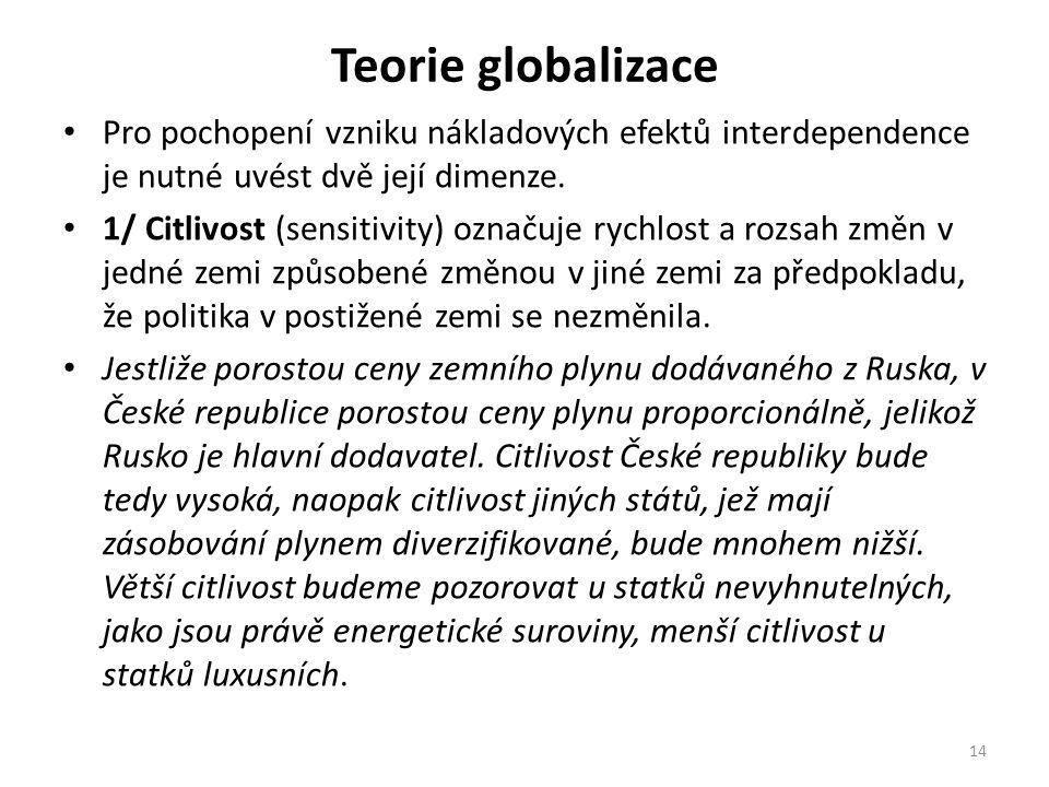 Teorie globalizace Pro pochopení vzniku nákladových efektů interdependence je nutné uvést dvě její dimenze. 1/ Citlivost (sensitivity) označuje rychlo