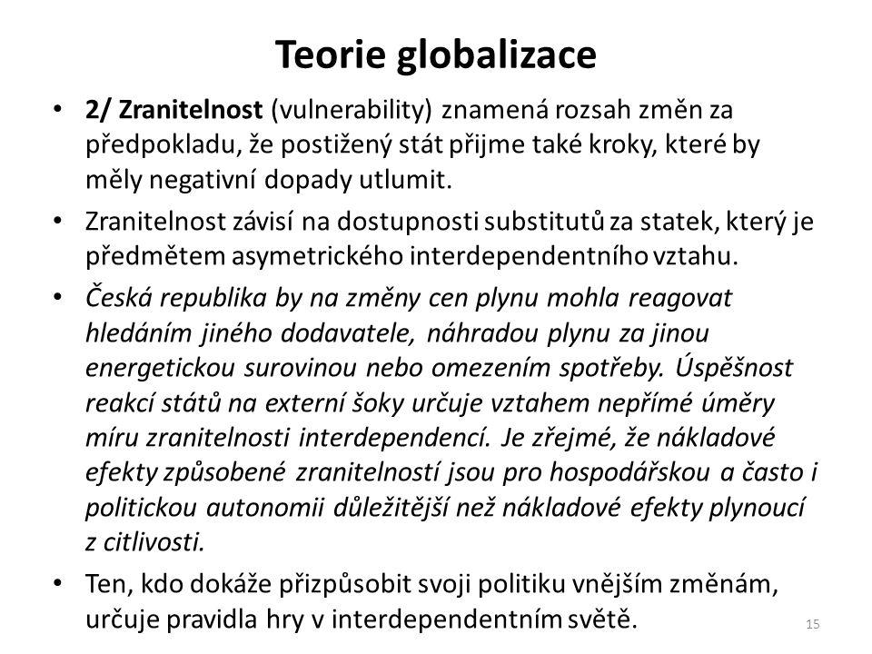 Teorie globalizace 2/ Zranitelnost (vulnerability) znamená rozsah změn za předpokladu, že postižený stát přijme také kroky, které by měly negativní dopady utlumit.