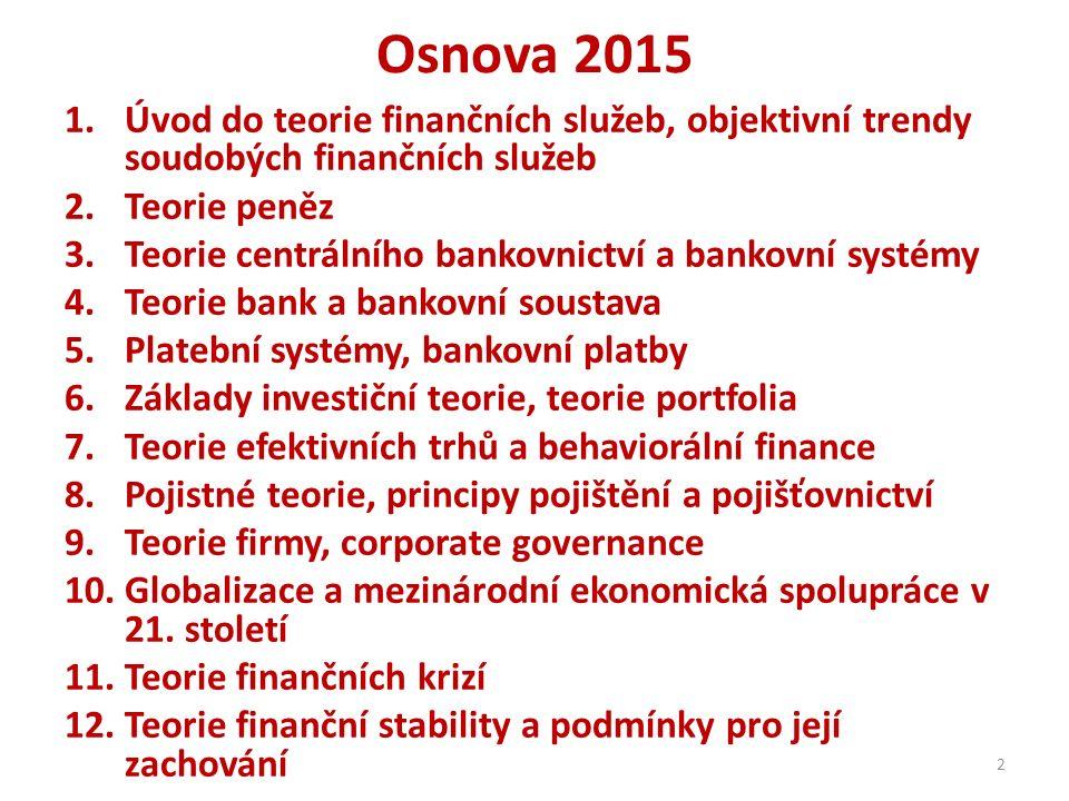 Osnova 2015 1.Úvod do teorie finančních služeb, objektivní trendy soudobých finančních služeb 2.Teorie peněz 3.Teorie centrálního bankovnictví a banko
