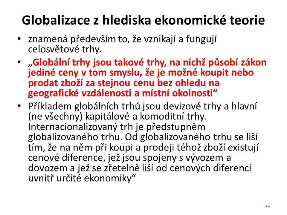 Globalizace z hlediska ekonomické teorie znamená především to, že vznikají a fungují celosvětové trhy.