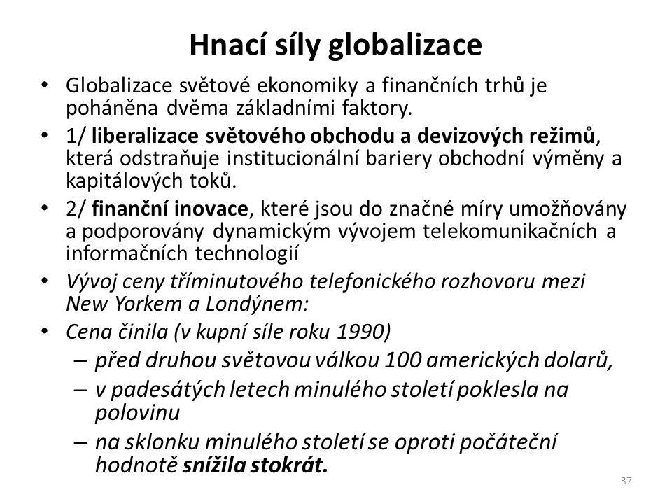 Hnací síly globalizace Globalizace světové ekonomiky a finančních trhů je poháněna dvěma základními faktory. 1/ liberalizace světového obchodu a deviz