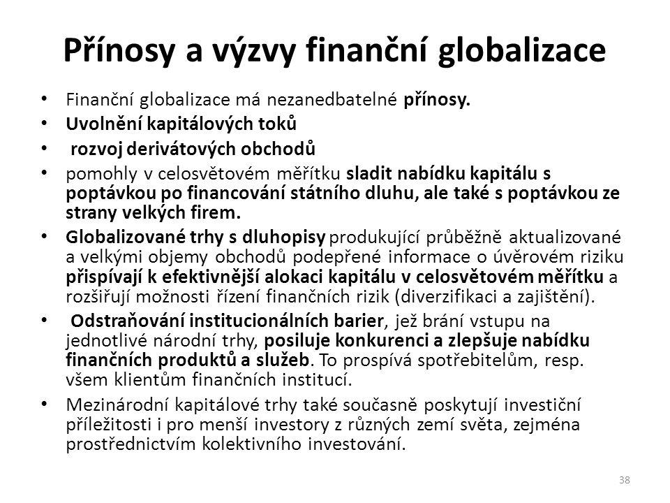 Přínosy a výzvy finanční globalizace Finanční globalizace má nezanedbatelné přínosy. Uvolnění kapitálových toků rozvoj derivátových obchodů pomohly v
