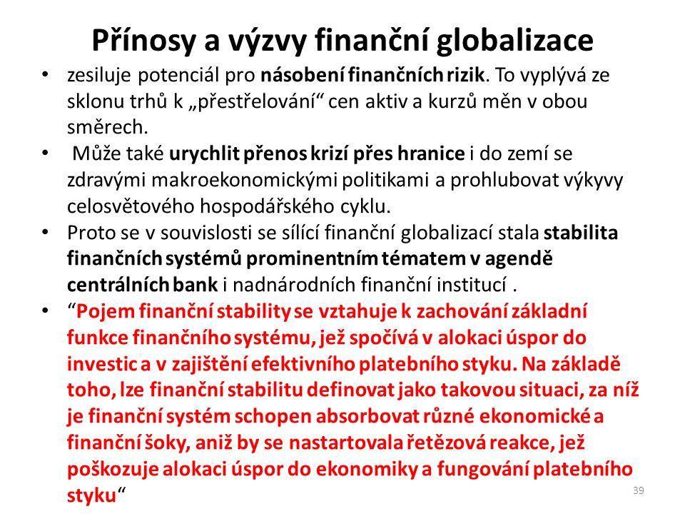 """Přínosy a výzvy finanční globalizace zesiluje potenciál pro násobení finančních rizik. To vyplývá ze sklonu trhů k """"přestřelování"""" cen aktiv a kurzů m"""