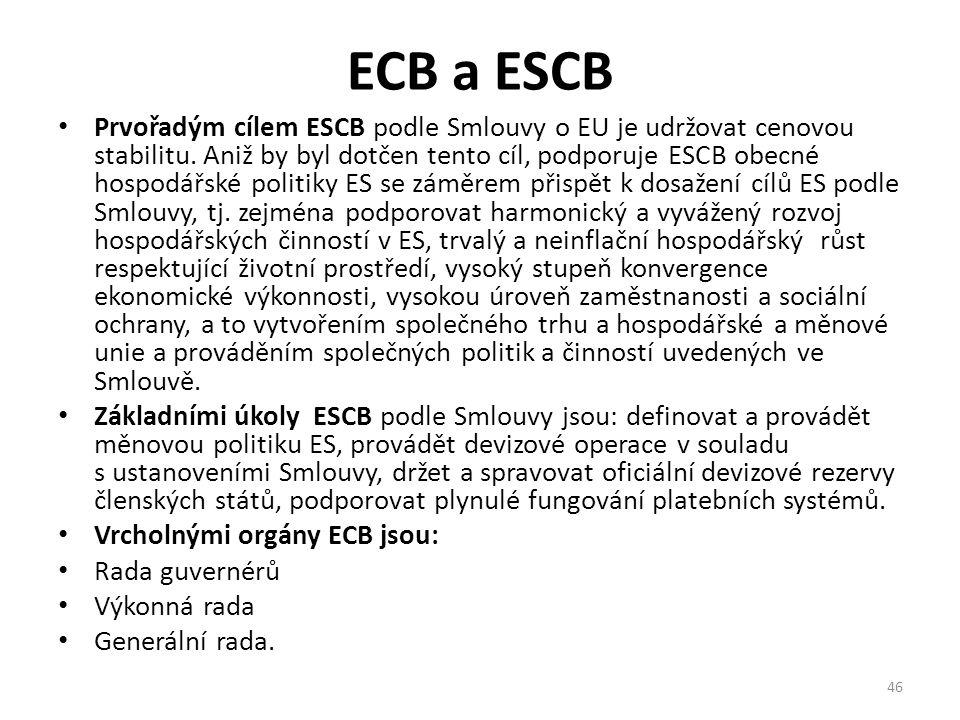 ECB a ESCB Prvořadým cílem ESCB podle Smlouvy o EU je udržovat cenovou stabilitu. Aniž by byl dotčen tento cíl, podporuje ESCB obecné hospodářské poli