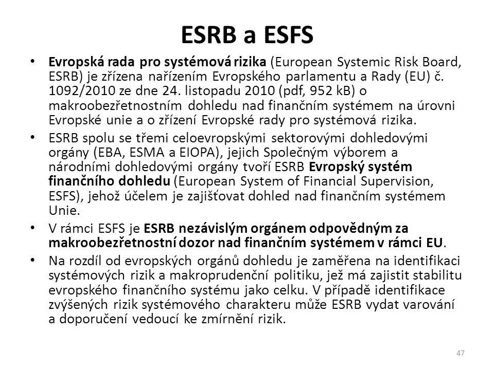 ESRB a ESFS Evropská rada pro systémová rizika (European Systemic Risk Board, ESRB) je zřízena nařízením Evropského parlamentu a Rady (EU) č. 1092/201